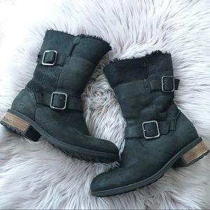 UGG Black Leather & Suede Oregon Boot 8